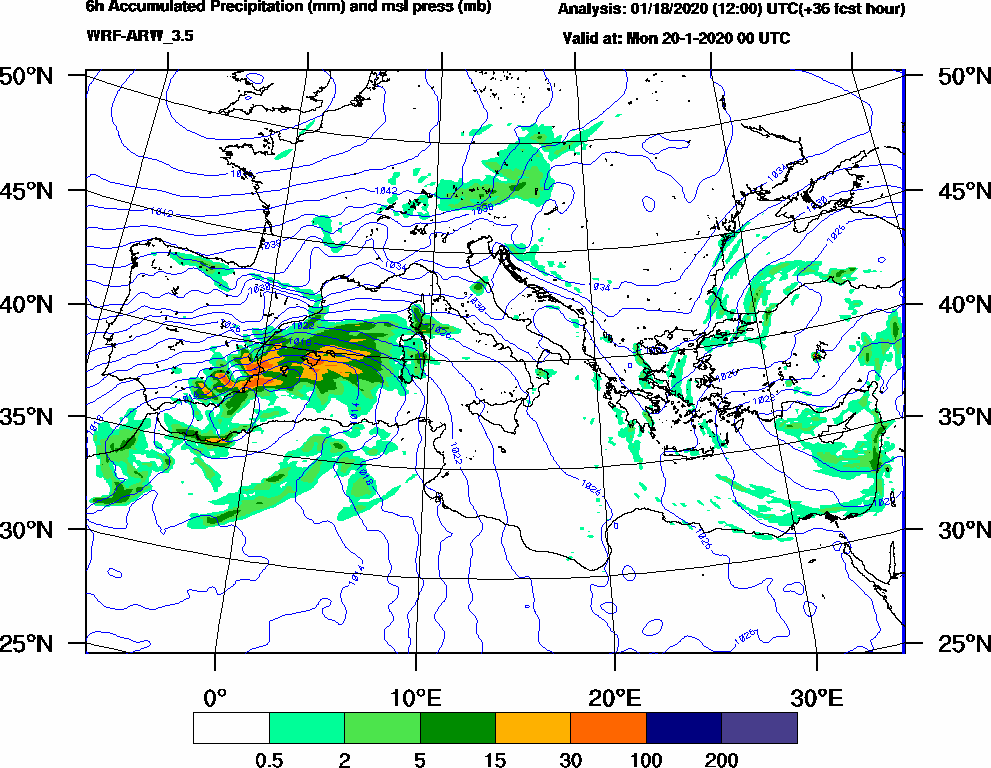 6h Accumulated Precipitation (mm) and msl press (mb) - 2020-01-19 18:00