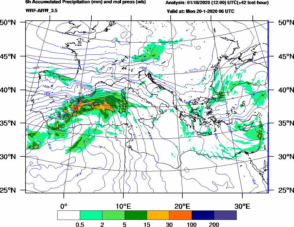 6h Accumulated Precipitation (mm) and msl press (mb) - 2020-01-20 00:00