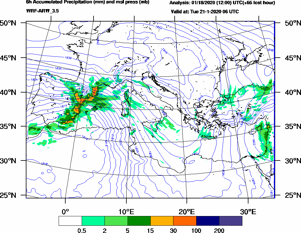 6h Accumulated Precipitation (mm) and msl press (mb) - 2020-01-21 00:00