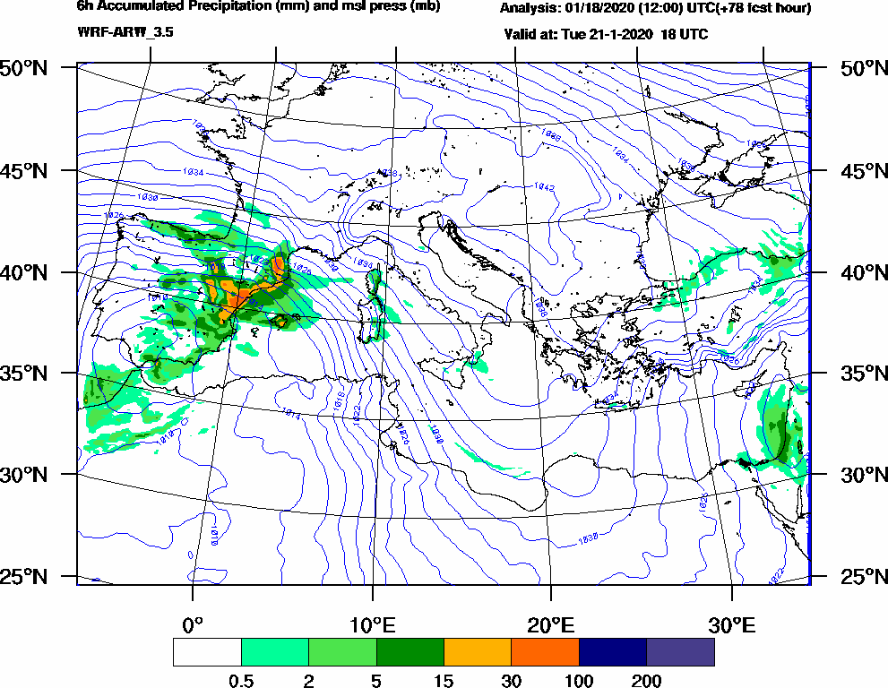 6h Accumulated Precipitation (mm) and msl press (mb) - 2020-01-21 12:00