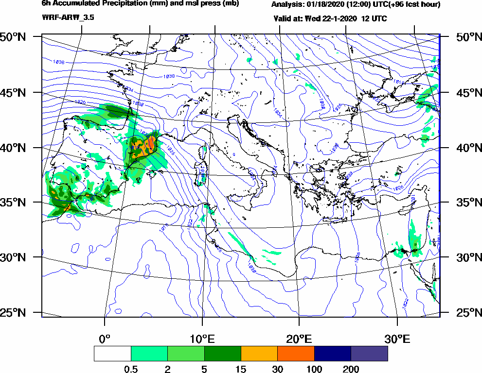 6h Accumulated Precipitation (mm) and msl press (mb) - 2020-01-22 06:00