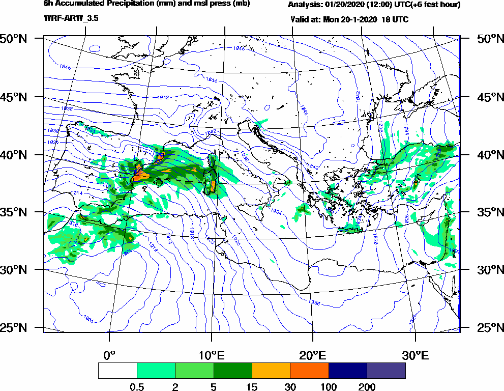 6h Accumulated Precipitation (mm) and msl press (mb) - 2020-01-20 12:00