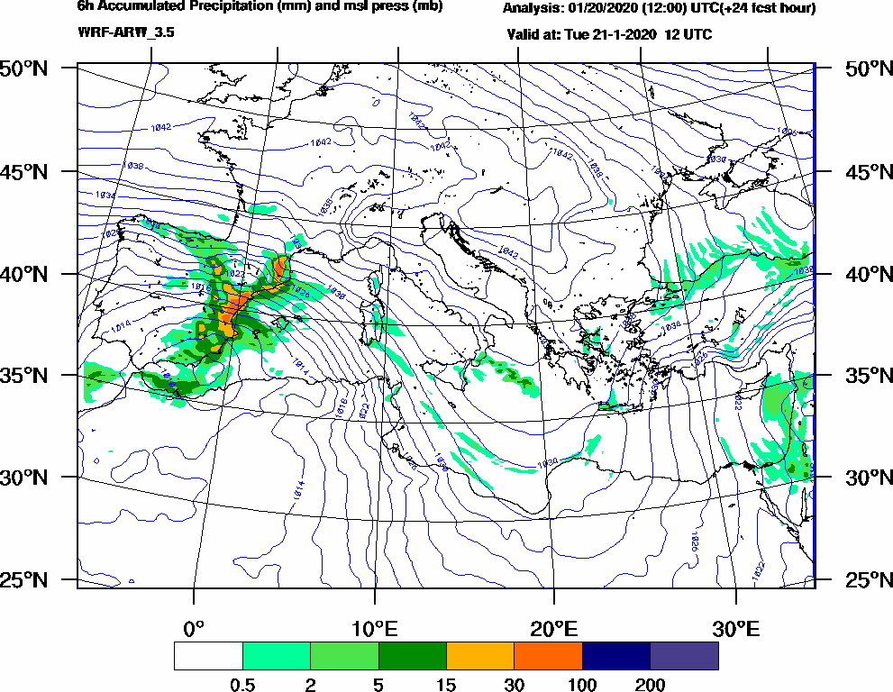 6h Accumulated Precipitation (mm) and msl press (mb) - 2020-01-21 06:00