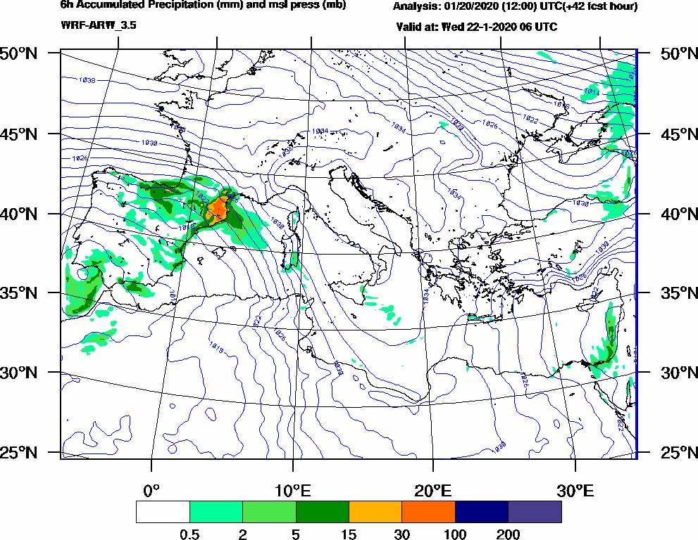 6h Accumulated Precipitation (mm) and msl press (mb) - 2020-01-22 00:00
