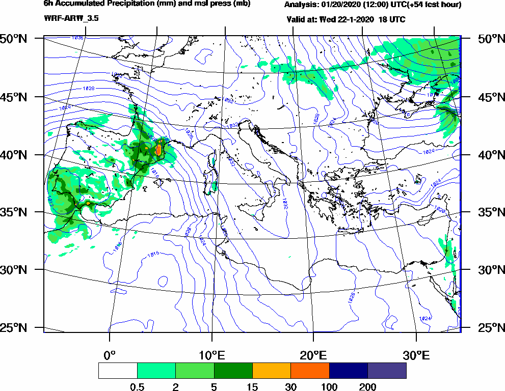 6h Accumulated Precipitation (mm) and msl press (mb) - 2020-01-22 12:00