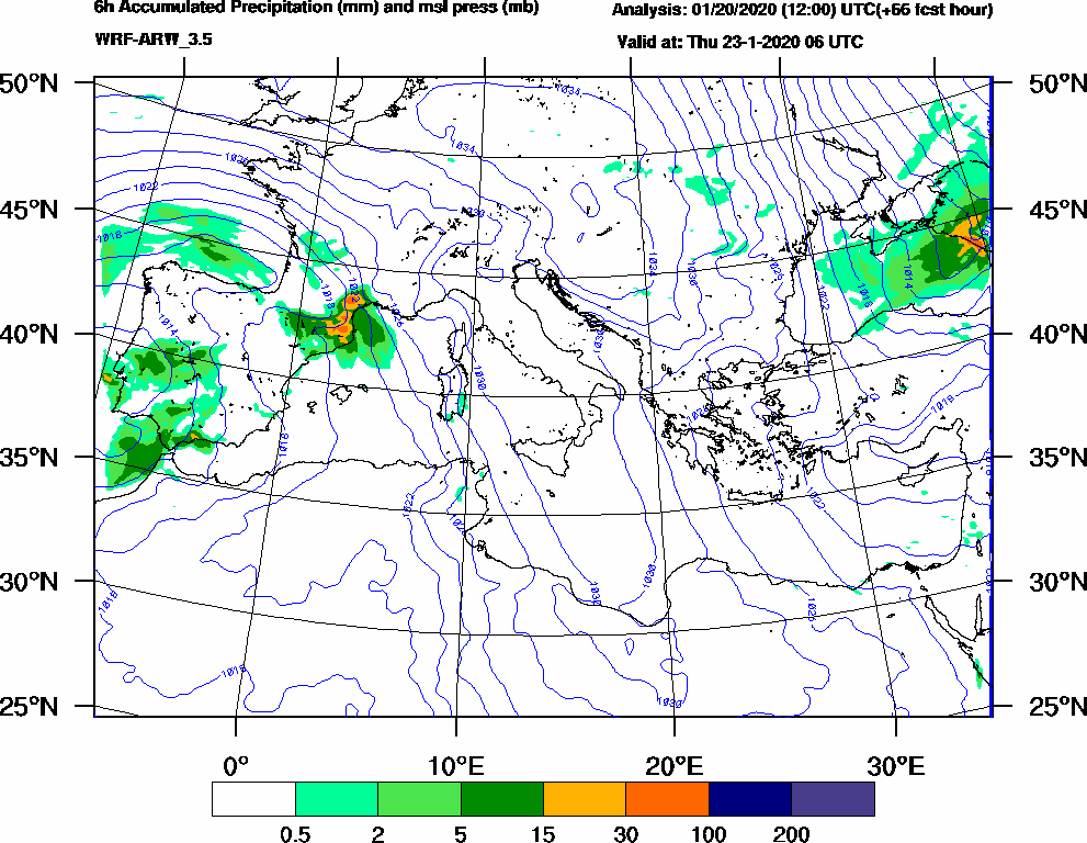 6h Accumulated Precipitation (mm) and msl press (mb) - 2020-01-23 00:00