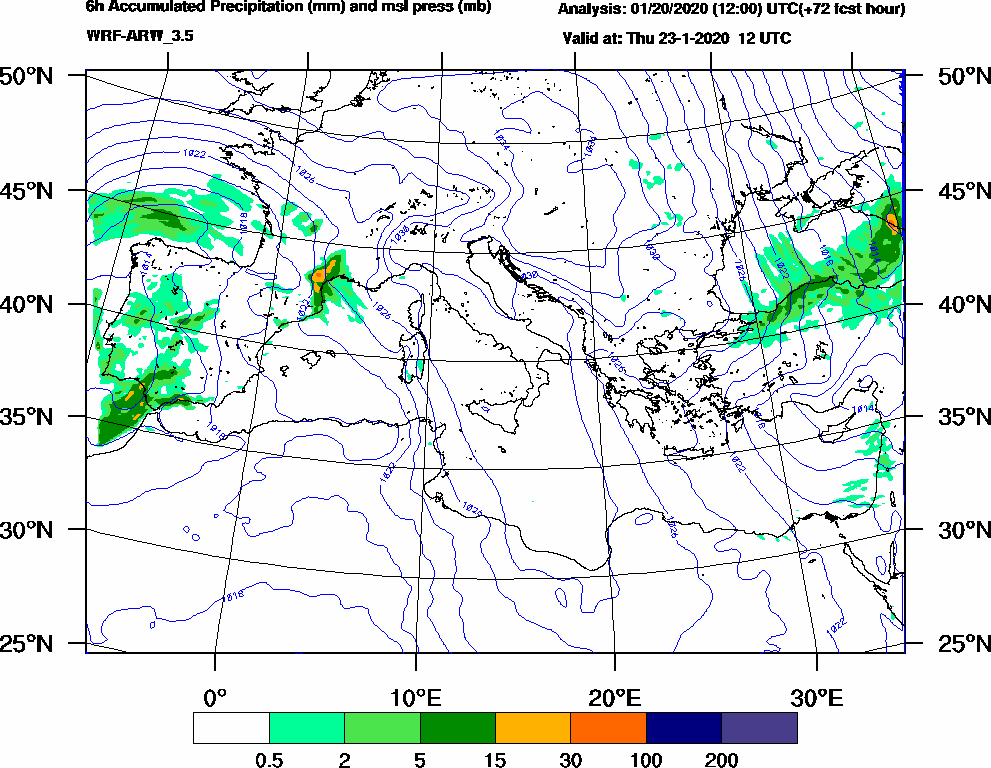 6h Accumulated Precipitation (mm) and msl press (mb) - 2020-01-23 06:00