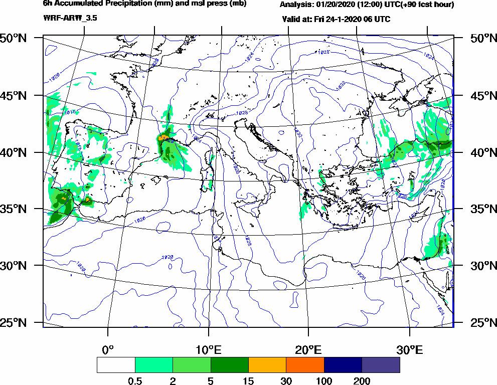 6h Accumulated Precipitation (mm) and msl press (mb) - 2020-01-24 00:00