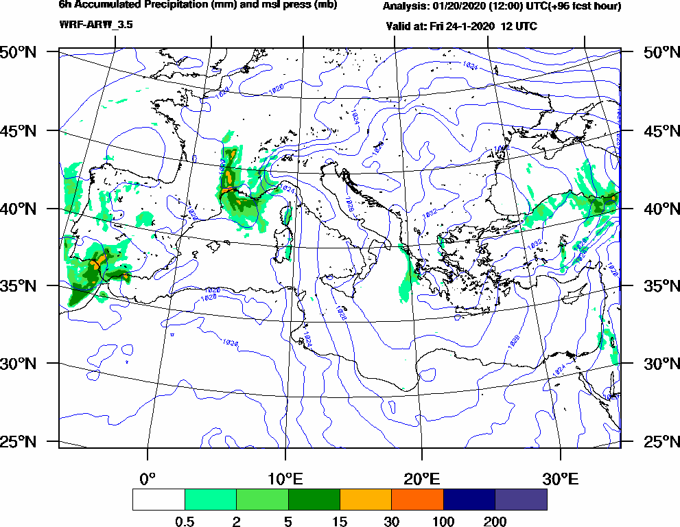 6h Accumulated Precipitation (mm) and msl press (mb) - 2020-01-24 06:00