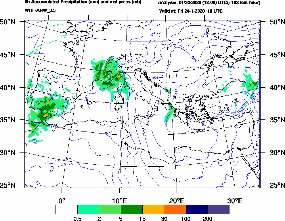 6h Accumulated Precipitation (mm) and msl press (mb) - 2020-01-24 12:00