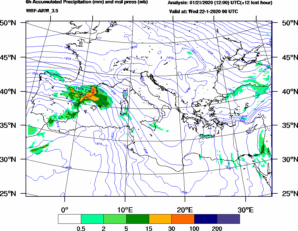 6h Accumulated Precipitation (mm) and msl press (mb) - 2020-01-21 18:00