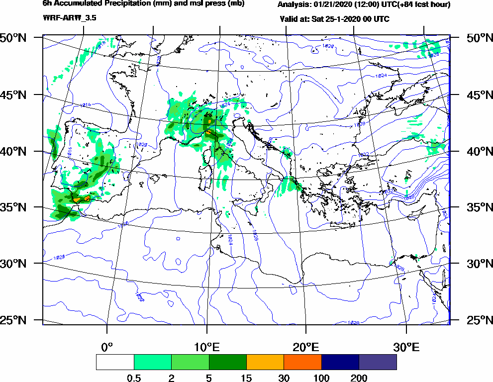 6h Accumulated Precipitation (mm) and msl press (mb) - 2020-01-24 18:00