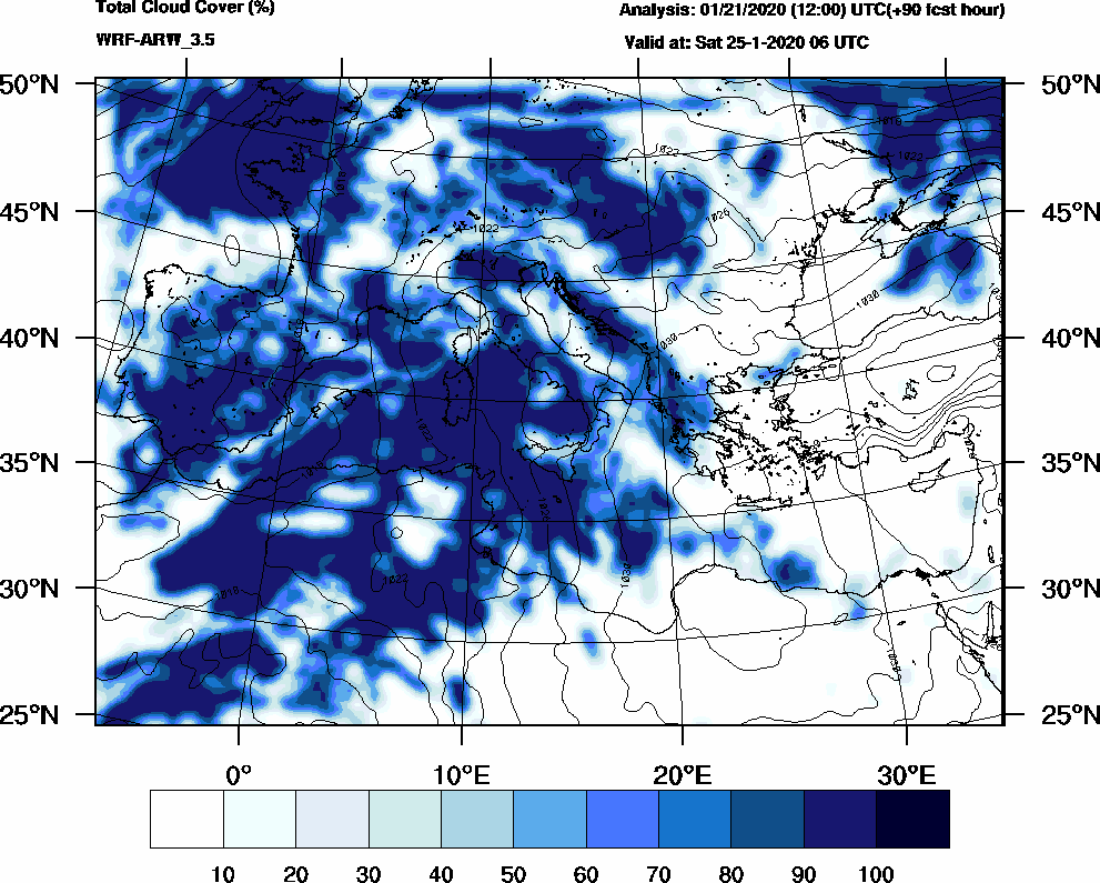 Total cloud cover (%) - 2020-01-25 00:00