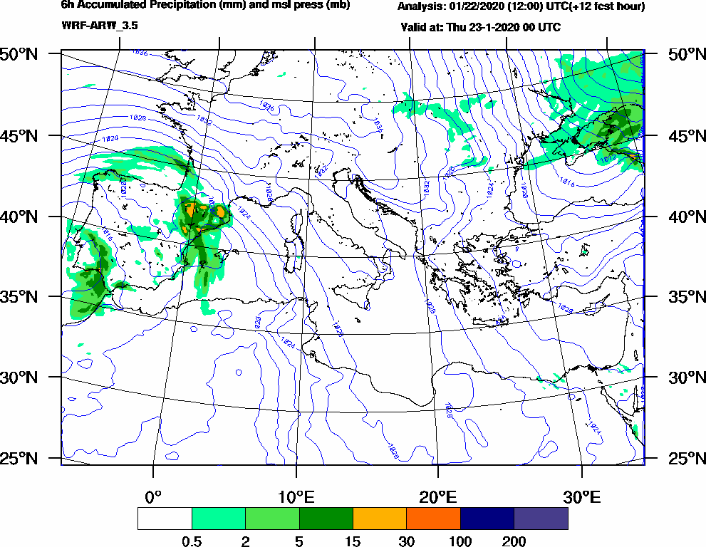 6h Accumulated Precipitation (mm) and msl press (mb) - 2020-01-22 18:00