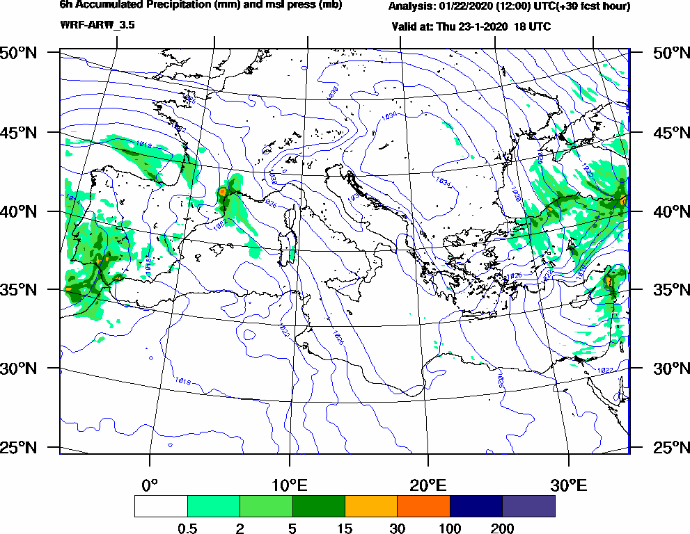 6h Accumulated Precipitation (mm) and msl press (mb) - 2020-01-23 12:00