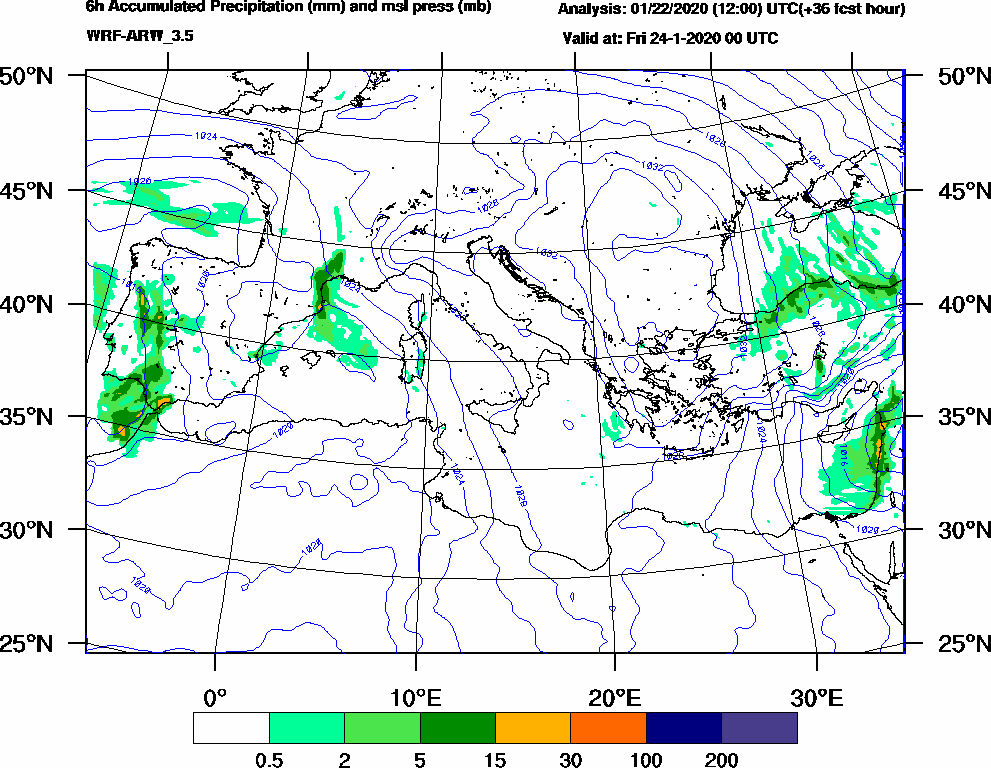 6h Accumulated Precipitation (mm) and msl press (mb) - 2020-01-23 18:00