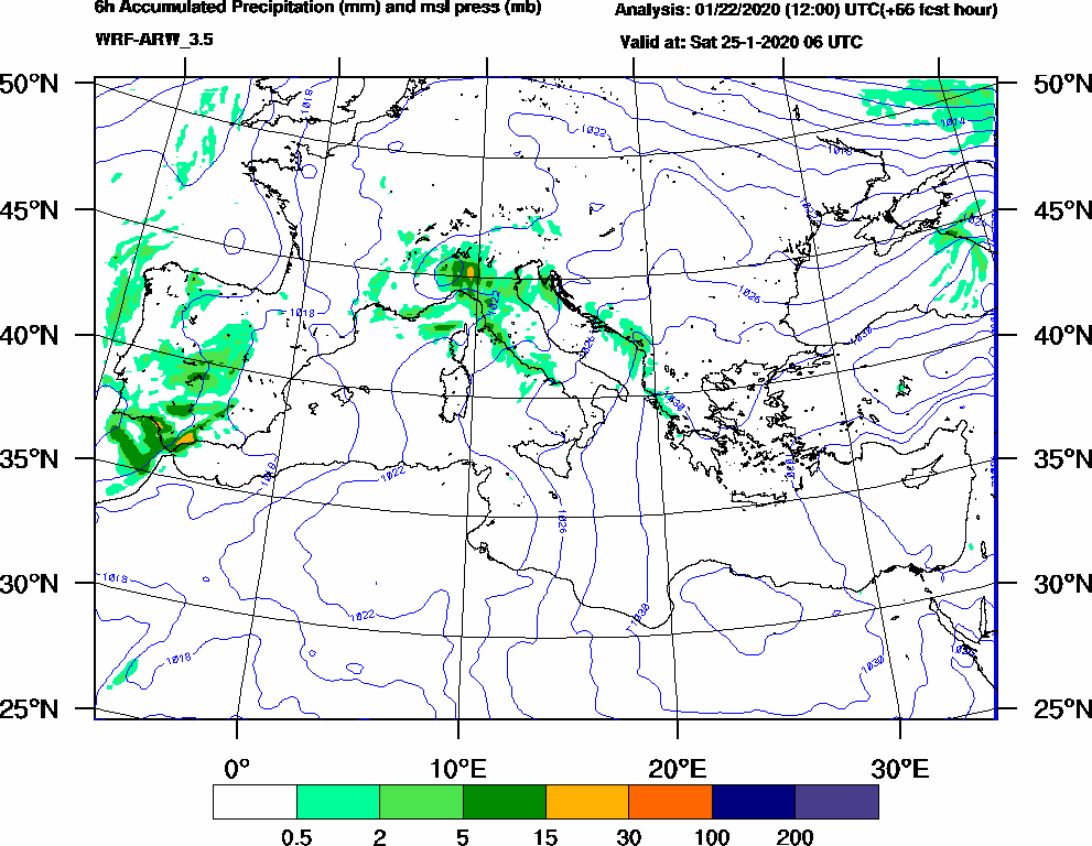 6h Accumulated Precipitation (mm) and msl press (mb) - 2020-01-25 00:00
