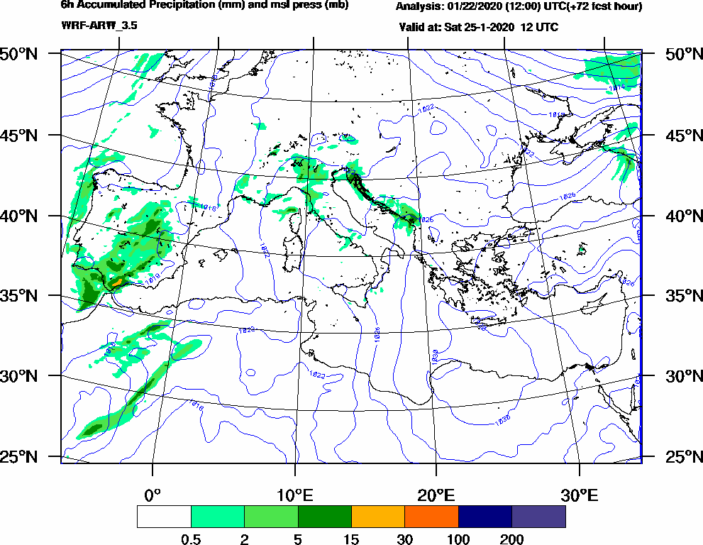6h Accumulated Precipitation (mm) and msl press (mb) - 2020-01-25 06:00