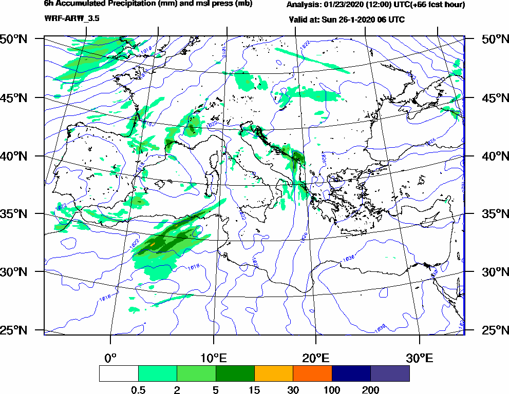6h Accumulated Precipitation (mm) and msl press (mb) - 2020-01-26 00:00