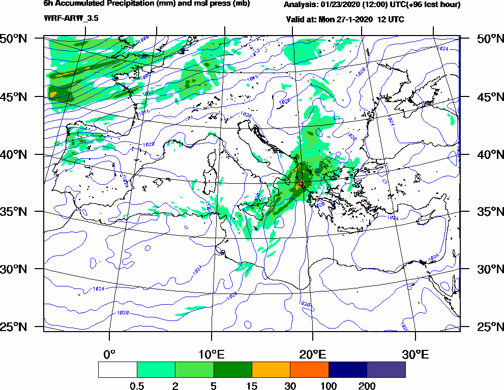 6h Accumulated Precipitation (mm) and msl press (mb) - 2020-01-27 06:00