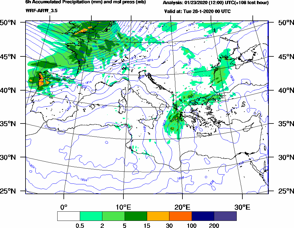 6h Accumulated Precipitation (mm) and msl press (mb) - 2020-01-27 18:00