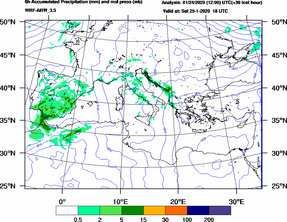 6h Accumulated Precipitation (mm) and msl press (mb) - 2020-01-25 12:00