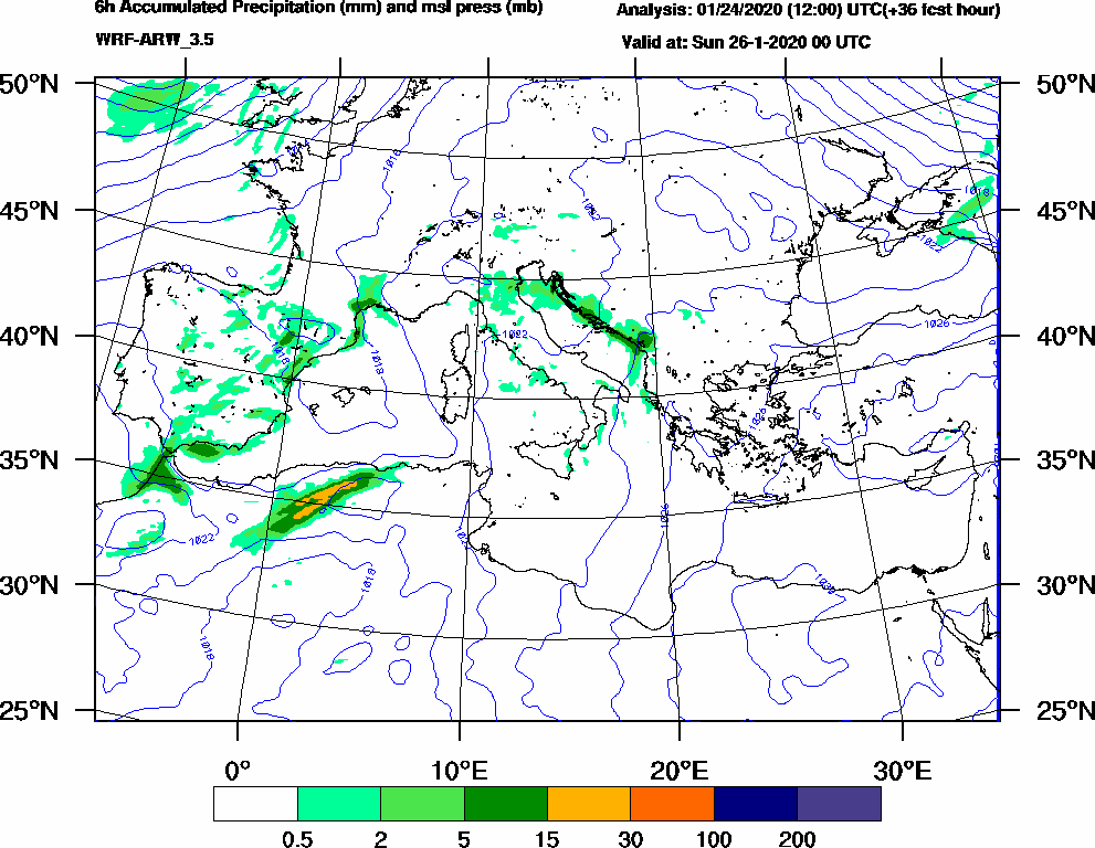 6h Accumulated Precipitation (mm) and msl press (mb) - 2020-01-25 18:00