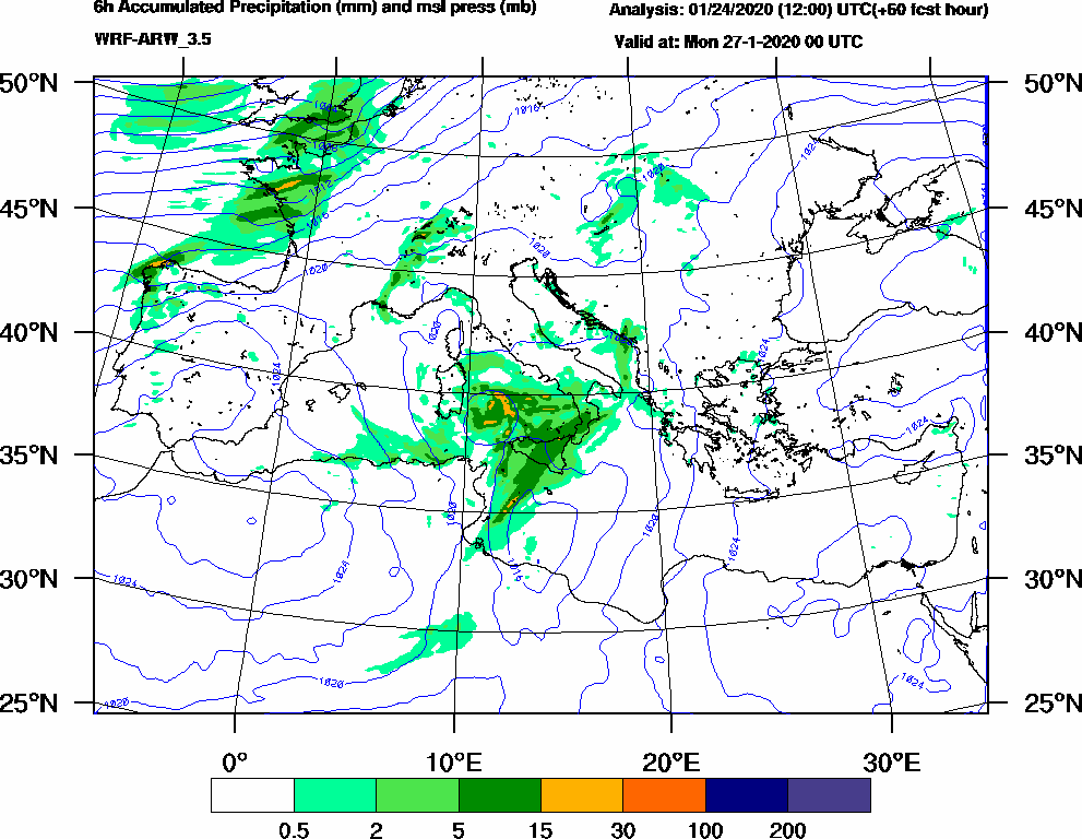 6h Accumulated Precipitation (mm) and msl press (mb) - 2020-01-26 18:00