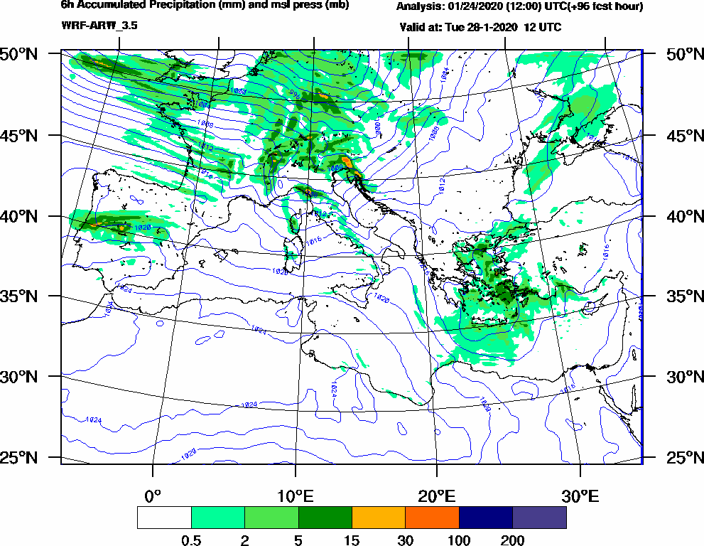 6h Accumulated Precipitation (mm) and msl press (mb) - 2020-01-28 06:00