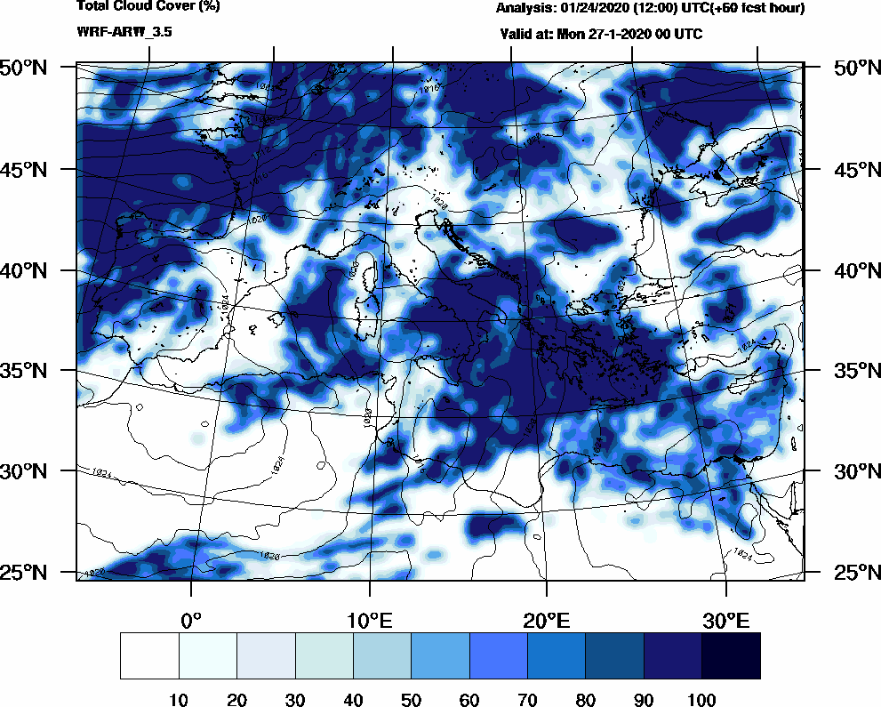 Total cloud cover (%) - 2020-01-26 18:00