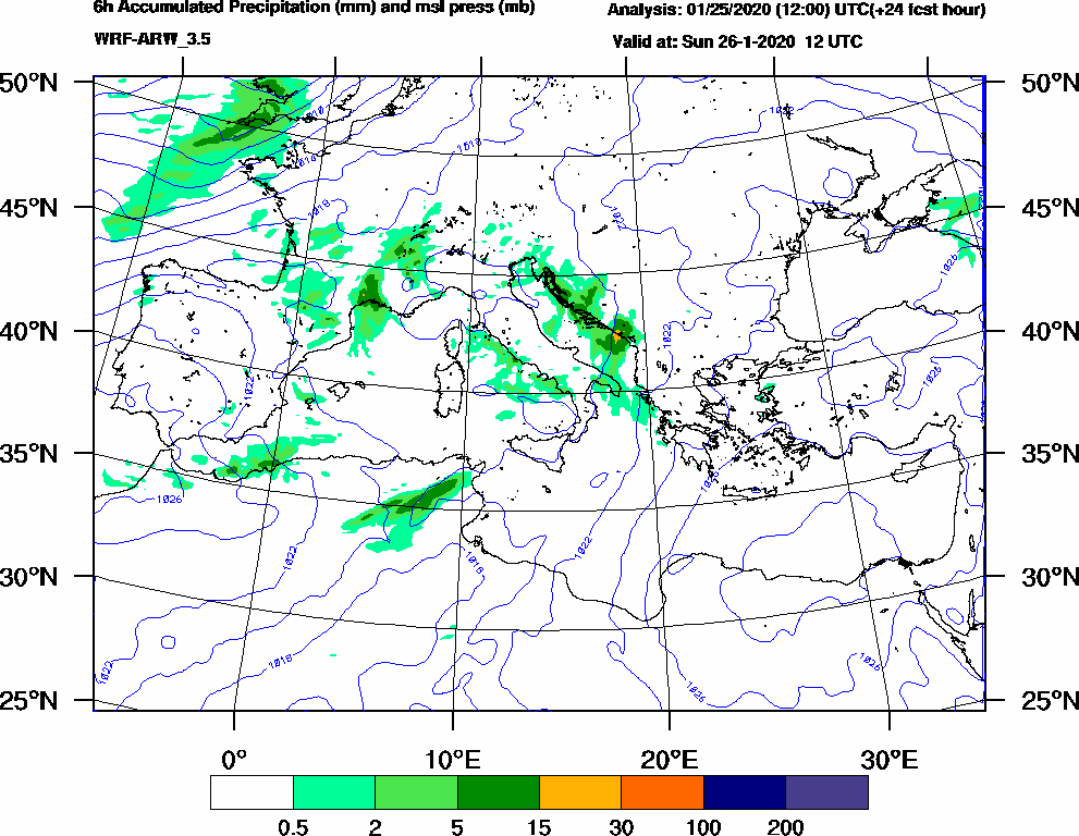 6h Accumulated Precipitation (mm) and msl press (mb) - 2020-01-26 06:00