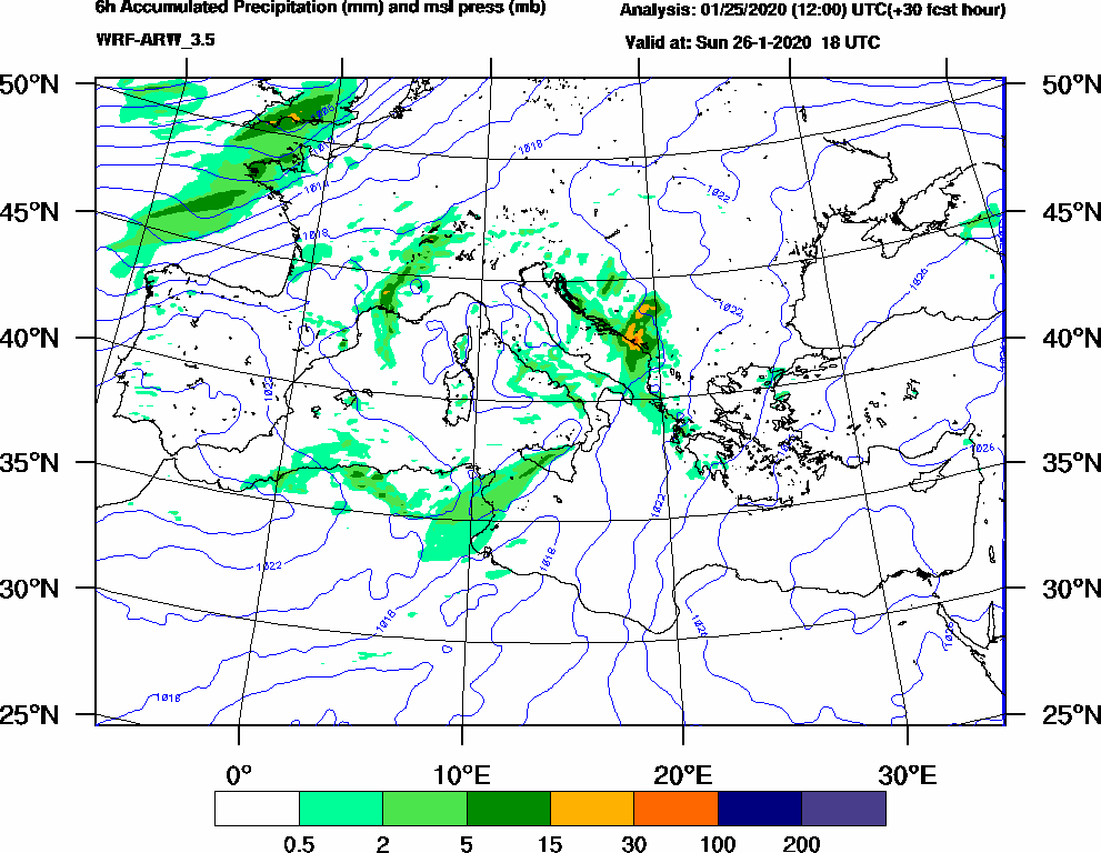 6h Accumulated Precipitation (mm) and msl press (mb) - 2020-01-26 12:00