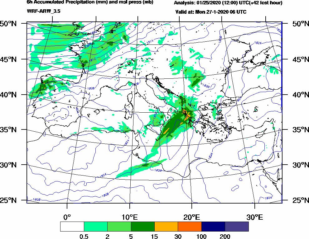 6h Accumulated Precipitation (mm) and msl press (mb) - 2020-01-27 00:00