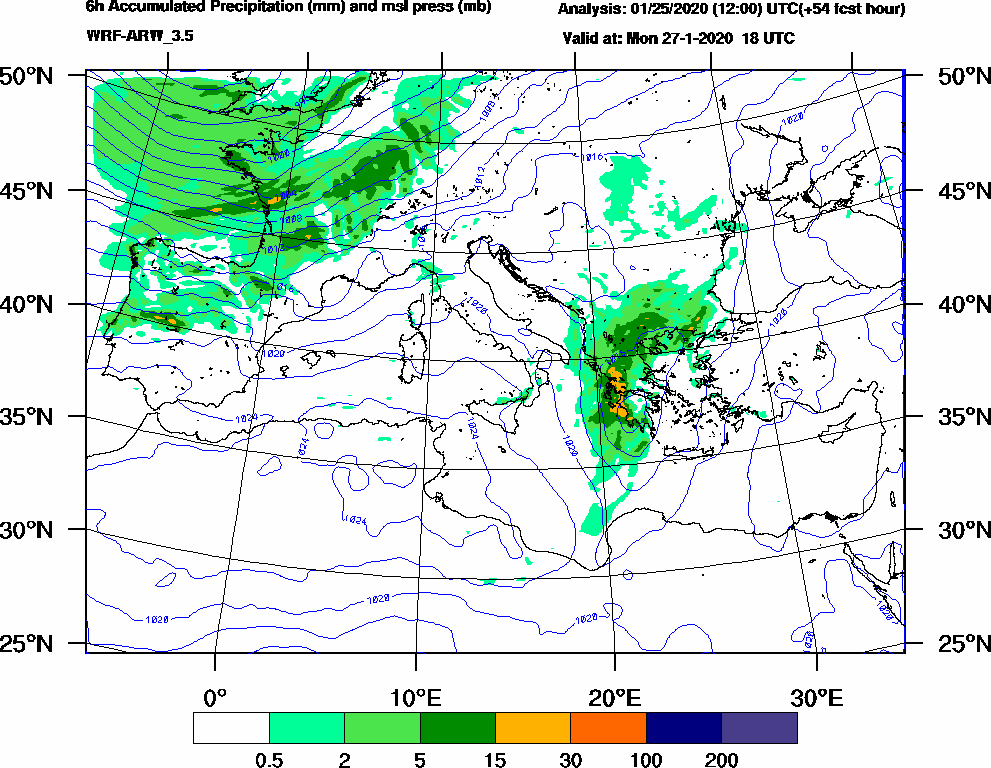 6h Accumulated Precipitation (mm) and msl press (mb) - 2020-01-27 12:00