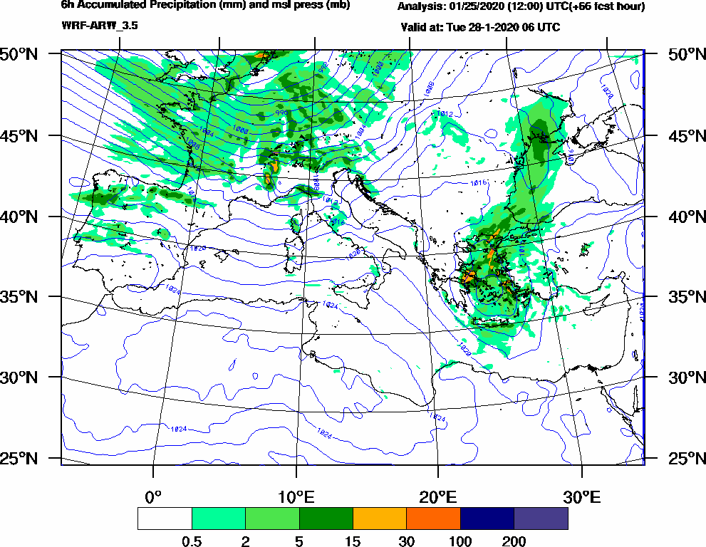 6h Accumulated Precipitation (mm) and msl press (mb) - 2020-01-28 00:00