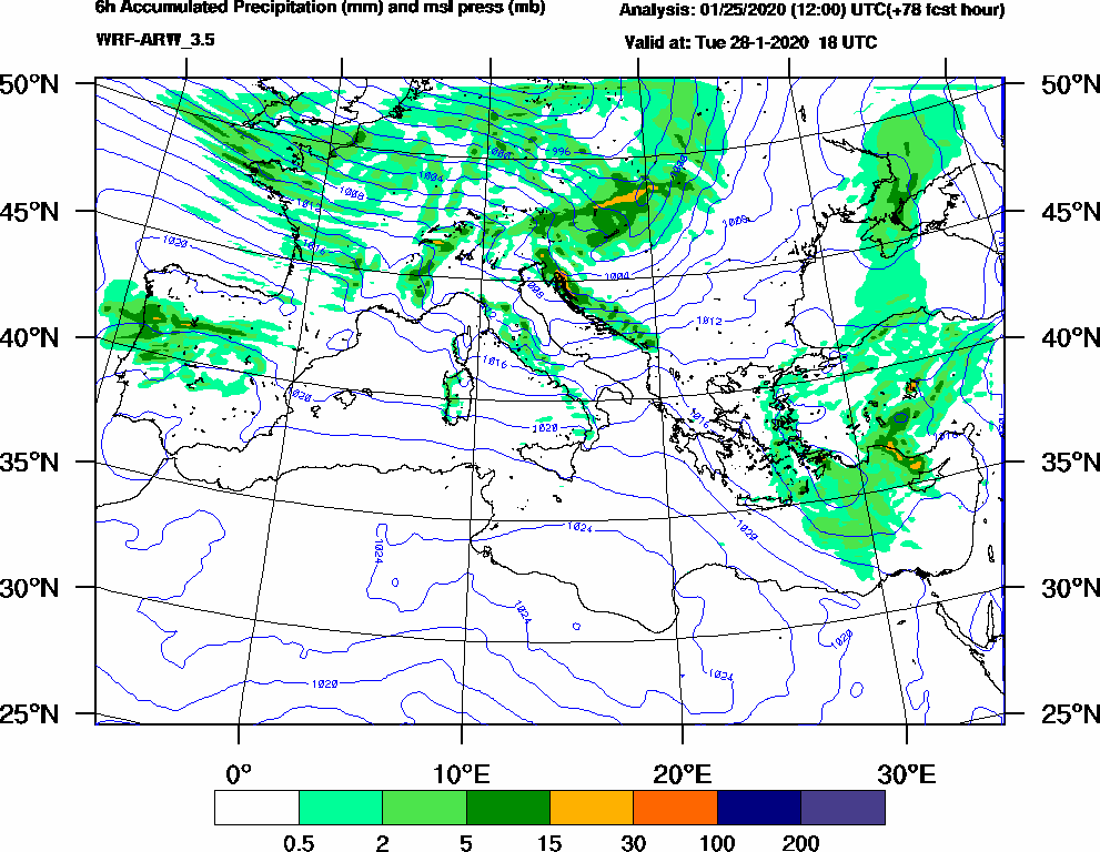 6h Accumulated Precipitation (mm) and msl press (mb) - 2020-01-28 12:00