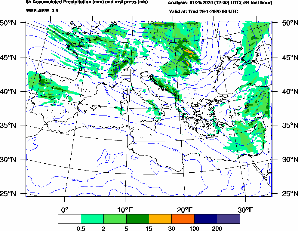 6h Accumulated Precipitation (mm) and msl press (mb) - 2020-01-28 18:00