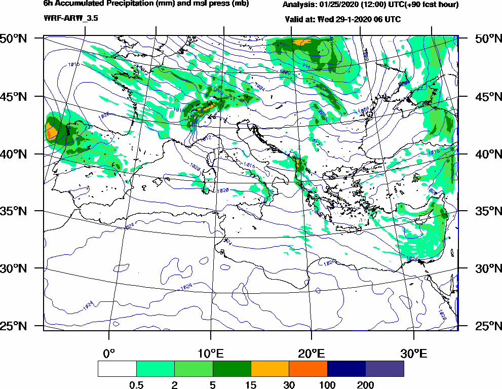6h Accumulated Precipitation (mm) and msl press (mb) - 2020-01-29 00:00