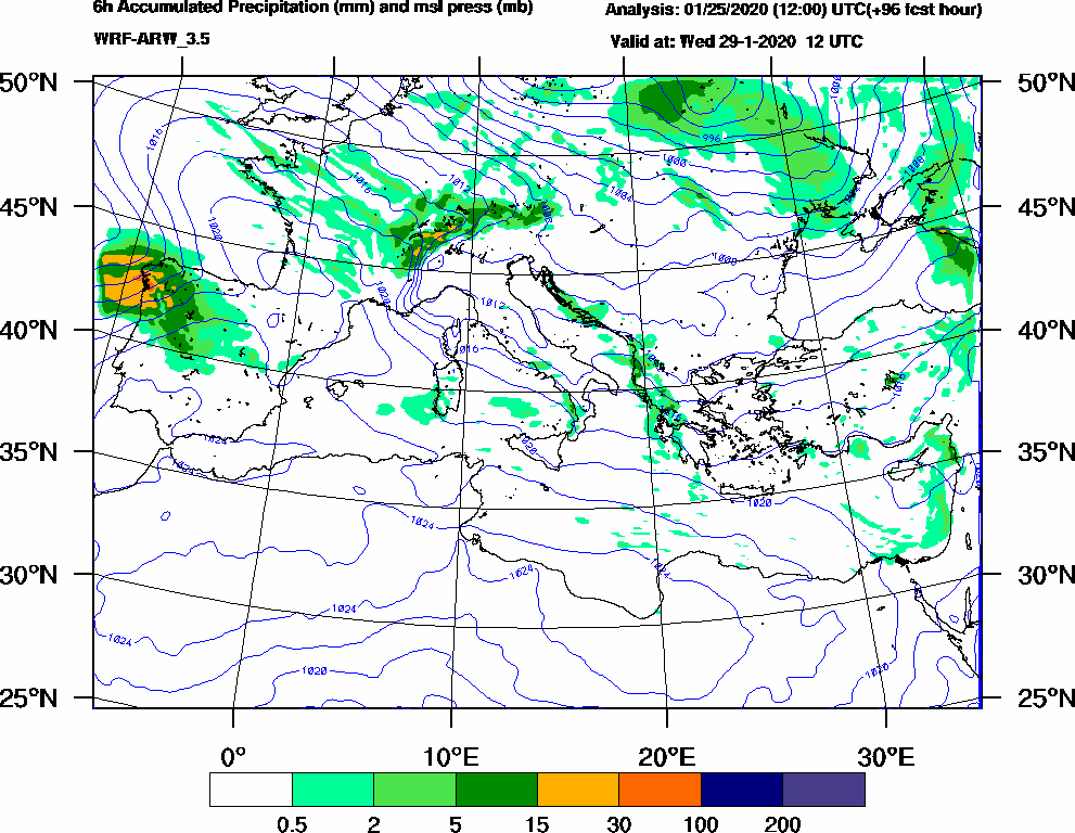 6h Accumulated Precipitation (mm) and msl press (mb) - 2020-01-29 06:00