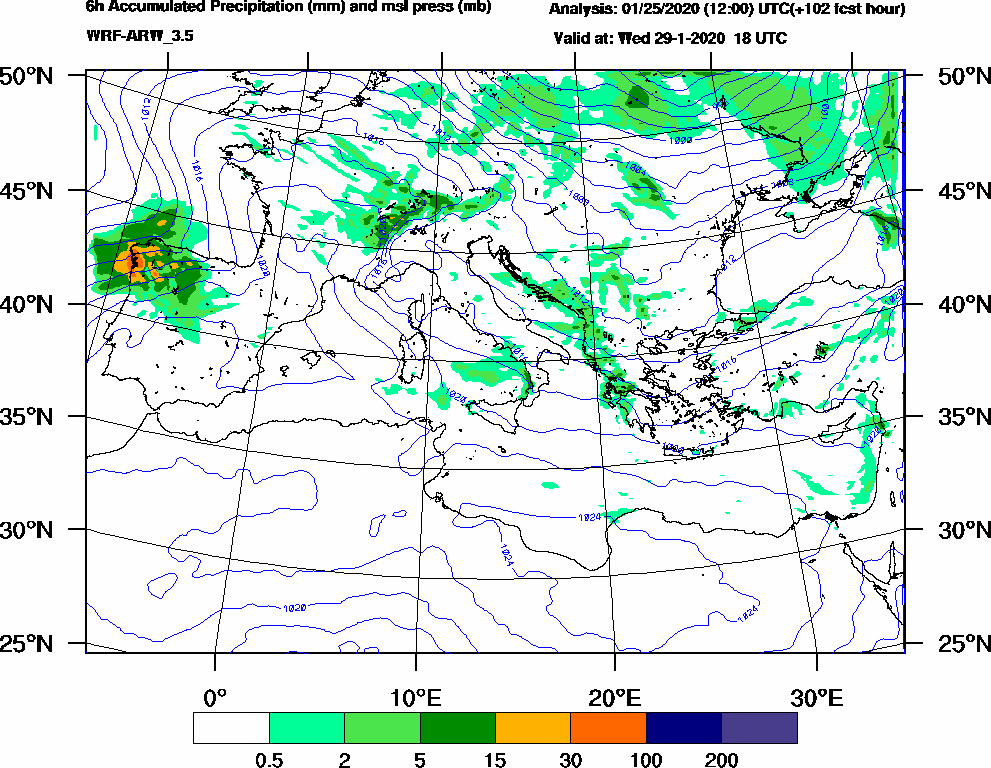 6h Accumulated Precipitation (mm) and msl press (mb) - 2020-01-29 12:00