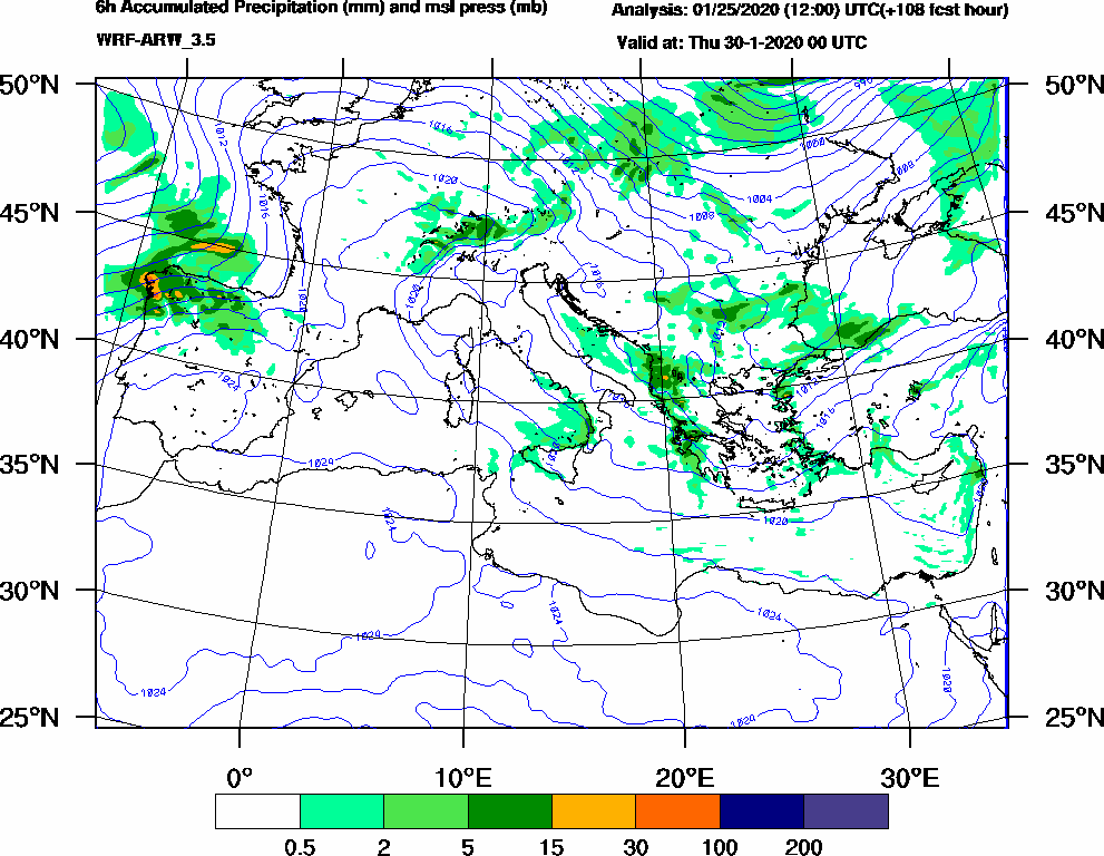 6h Accumulated Precipitation (mm) and msl press (mb) - 2020-01-29 18:00