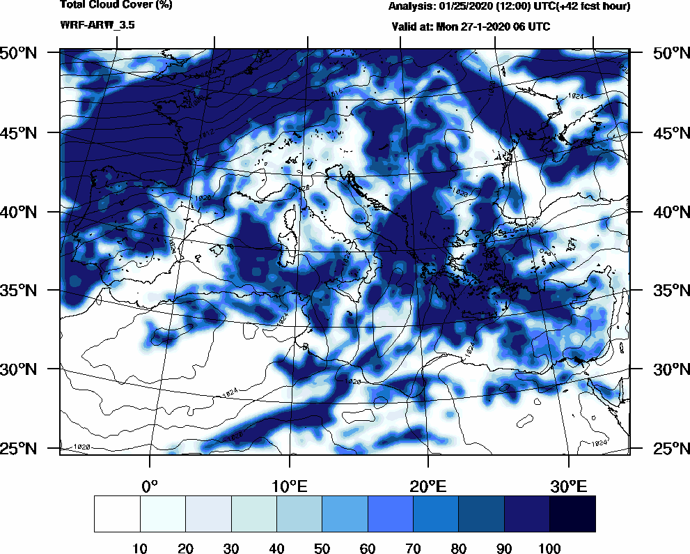 Total cloud cover (%) - 2020-01-27 00:00