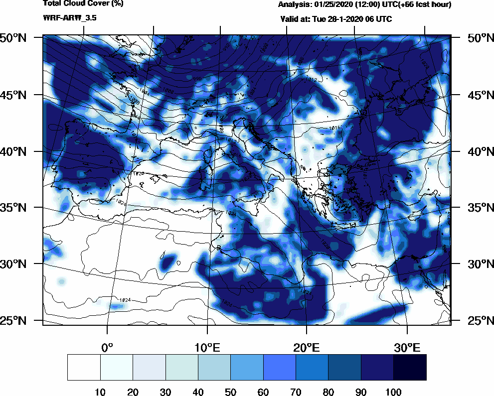 Total cloud cover (%) - 2020-01-28 00:00
