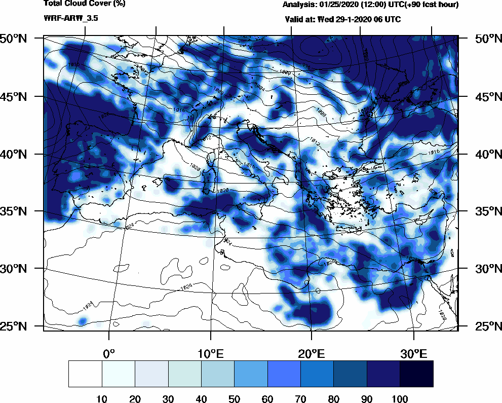 Total cloud cover (%) - 2020-01-29 00:00