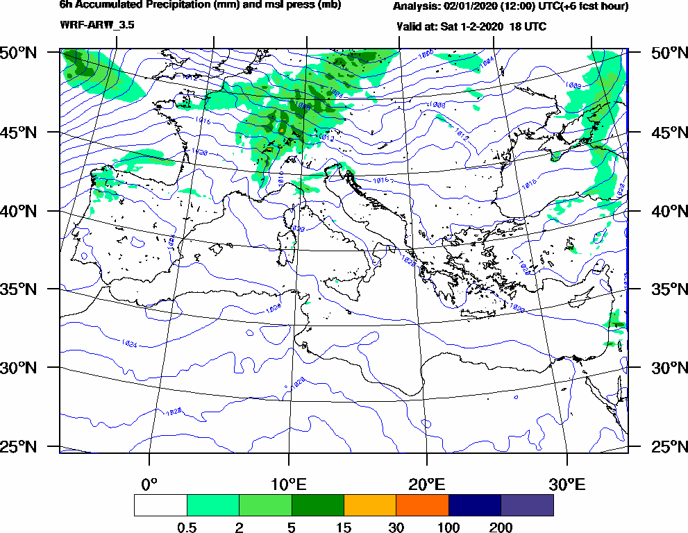 6h Accumulated Precipitation (mm) and msl press (mb) - 2020-02-01 12:00