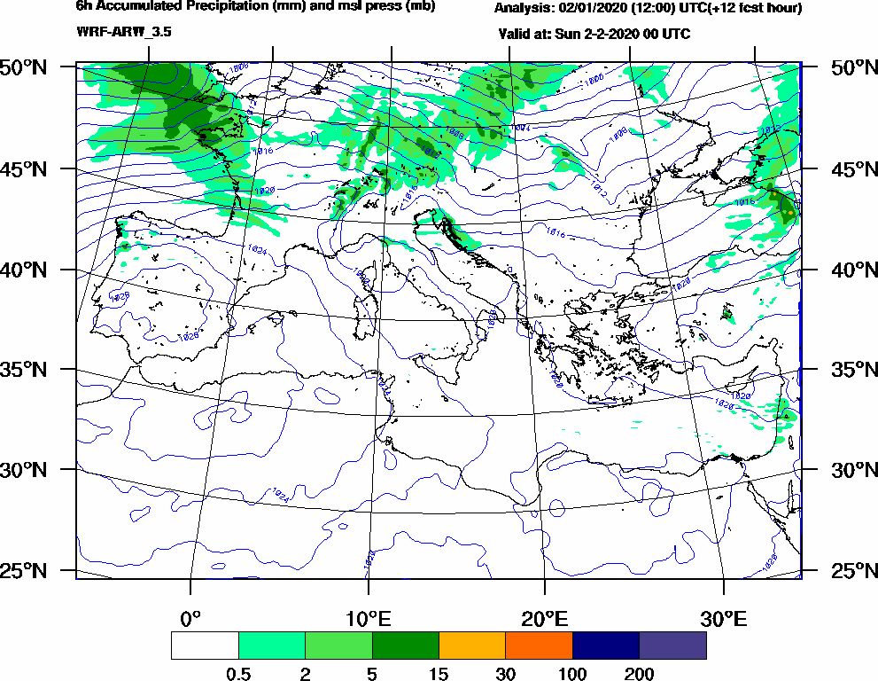 6h Accumulated Precipitation (mm) and msl press (mb) - 2020-02-01 18:00