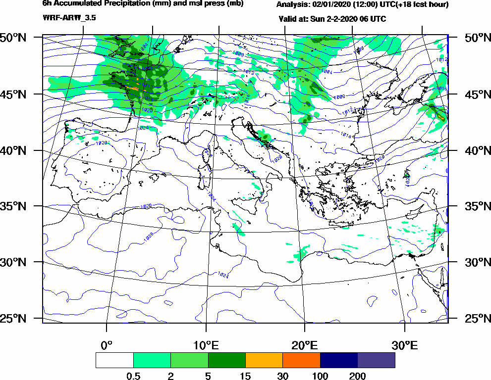 6h Accumulated Precipitation (mm) and msl press (mb) - 2020-02-02 00:00