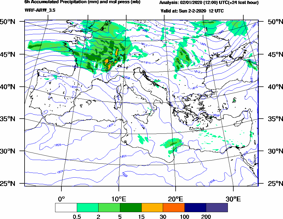 6h Accumulated Precipitation (mm) and msl press (mb) - 2020-02-02 06:00