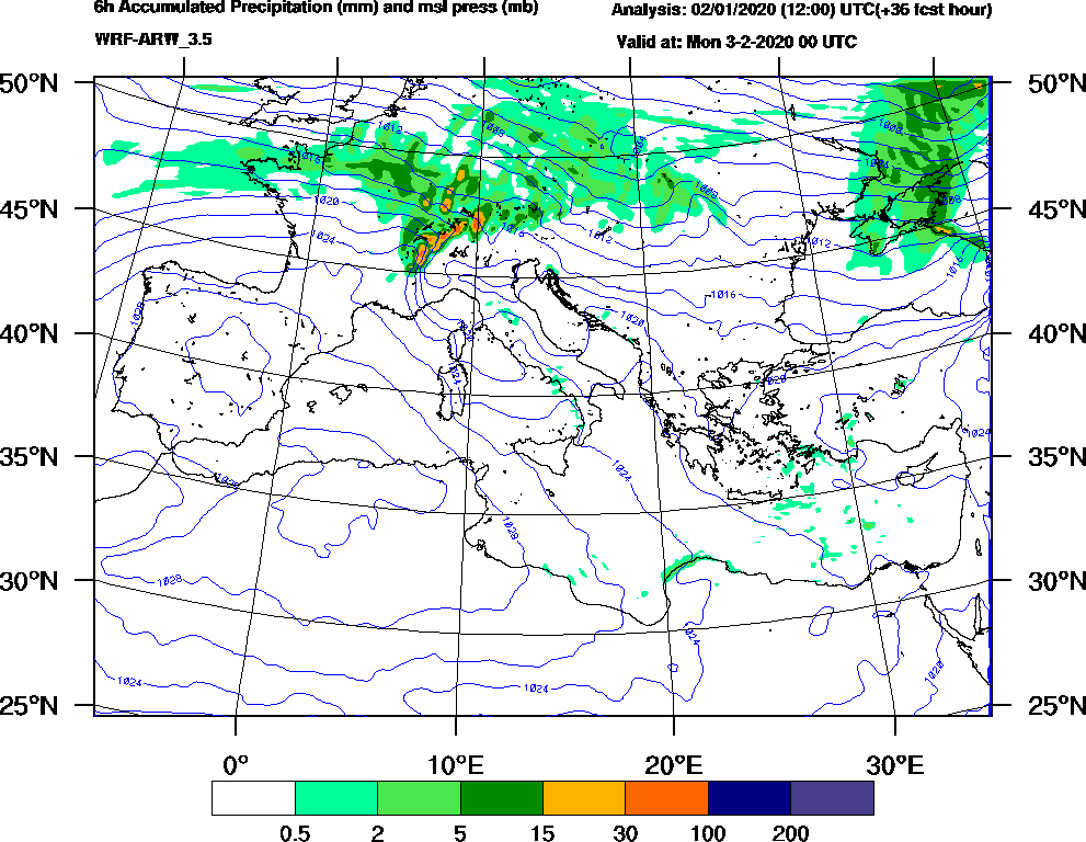 6h Accumulated Precipitation (mm) and msl press (mb) - 2020-02-02 18:00
