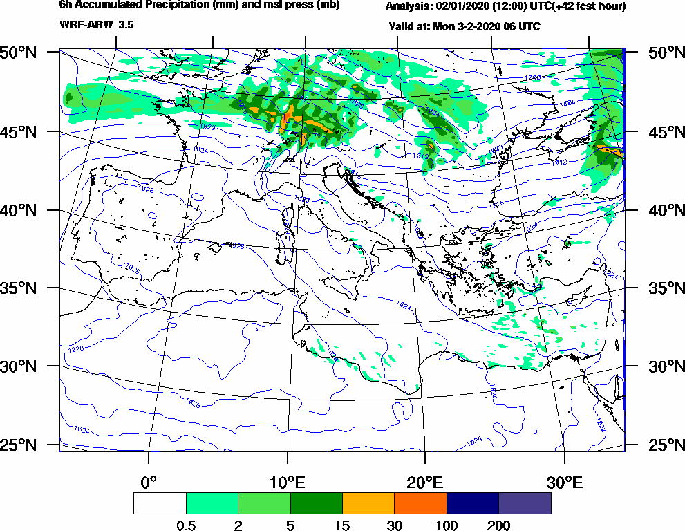 6h Accumulated Precipitation (mm) and msl press (mb) - 2020-02-03 00:00